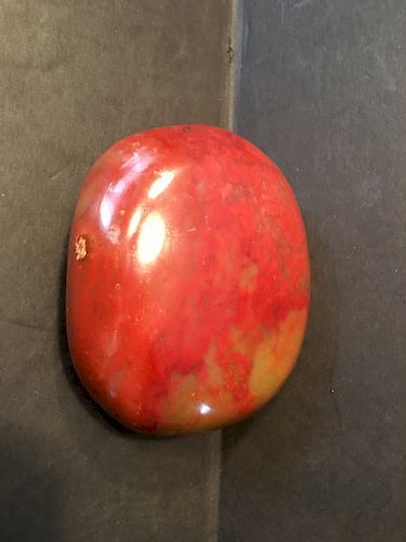 "OLD Chinese OX Blood Stone/red Jade Pebble, 3"" x 2 1/2"" x 1 1/2"""
