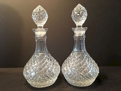 """ANTIQUE Large Pair Cut Glass Bottles with lids, 12"""" high"""