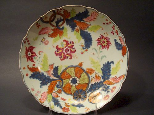 """ANTIQUE Chinese Tabaco leaf Plate with flowers, 18th Century. 9 1/4"""" wide"""