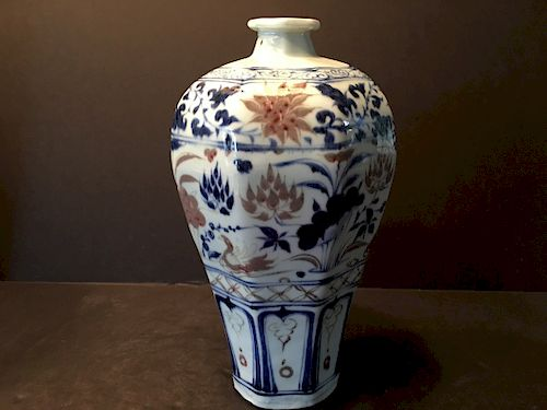 FINE Chinese Iron Red with Blue and White Meiping