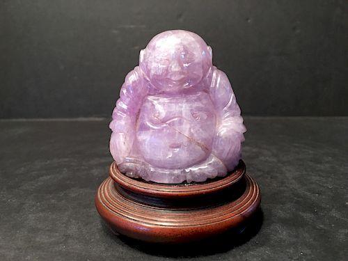 """OLD Chinese Pink Tourmaline Buddha Figure, 2 1/2"""" high"""