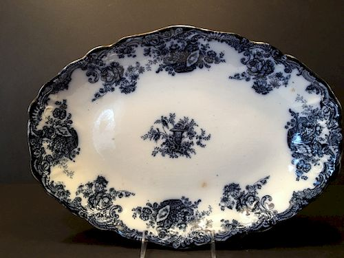 """ANTIQUE English Flow Blue Platte with flowers, marked on the back. 19th century. 16 1/2"""" x 12"""" wide"""