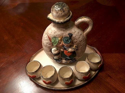Vintage Hummel decanter with five cups and tray, tmk 1