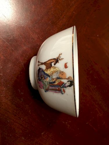 """OLD Chinese Famille Rose Bowl, 4 3/4"""" diameter, 2 1/2"""" high, Republic Period"""