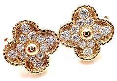 Van Cleef & Arpels 18k Yellow Gold Diamond Vintage Alhambra Earrings