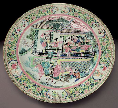 18th C. Chinese export famille rose charger.