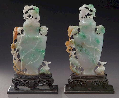 Pr. Chinese Qing carved jadeite vases,