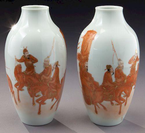Pr. Chinese Republic famille rose porcelain vases.