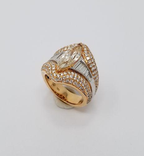 2.5ct Marquise Diamond & 18k Gold Ring