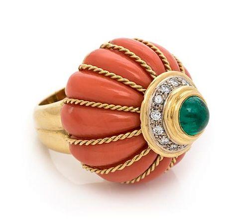 An 18 Karat Yellow Gold, Coral, Emerald and Diamond Bombe Ring, Italian, 20.50 dwts.
