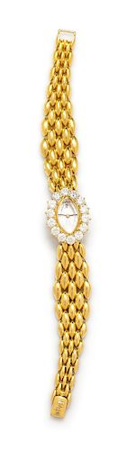 An 18 Karat Yellow Gold and Diamond Wristwatch, Audemars Piquet, 38.60 dwts.