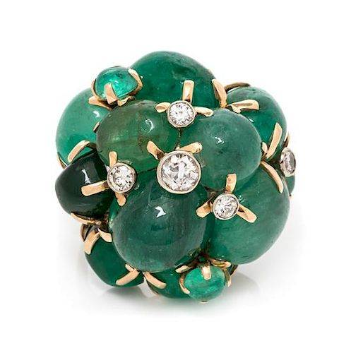 A 14 Karat Bicolor Gold, Emerald and Diamond Bombe Cluster Ring, Seaman Schepps, 18.20 dwts.