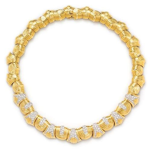 An 18 Karat Yellow Gold, Platinum and Diamond Necklace, Montreaux, 80.70 dwts.