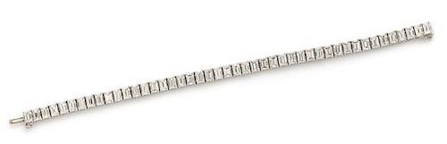 A Platinum and Diamond Line Bracelet, 21.60 dwts.