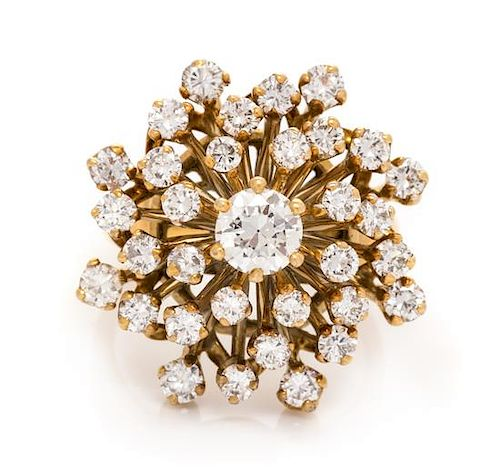 A 14 Karat Yellow Gold and Diamond Cluster Ring, 5.70 dwts.