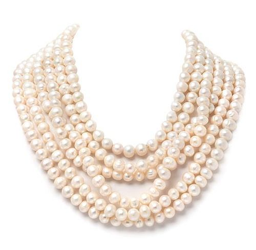 A Yellow Gold, Smoky Quartz and Cultured Pearl Necklace, 253.70 dwts.