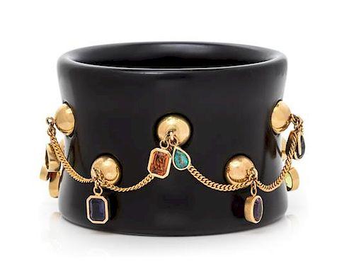 An 18 Karat Yellow Gold, Multigem and Resin Bangle Bracelet, French, 75.30 dwts.