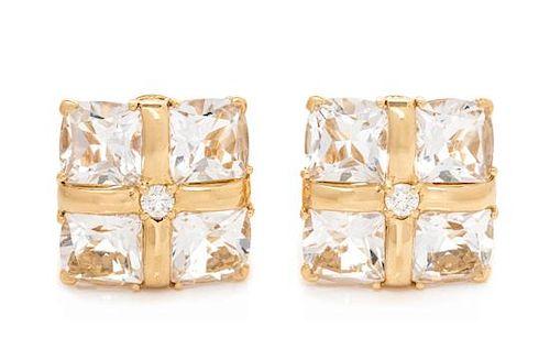 A Pair of 18 Karat Yellow Gold, Rock Crystal and Diamond 'Quad' Earclips, Seaman Schepps, 8.10 dwts.