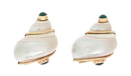 A Pair of Yellow Gold, Shell, Emerald and Sapphire Earclips, Patricia Schepps Vail for Seaman Schepps, 13.90 dwts.