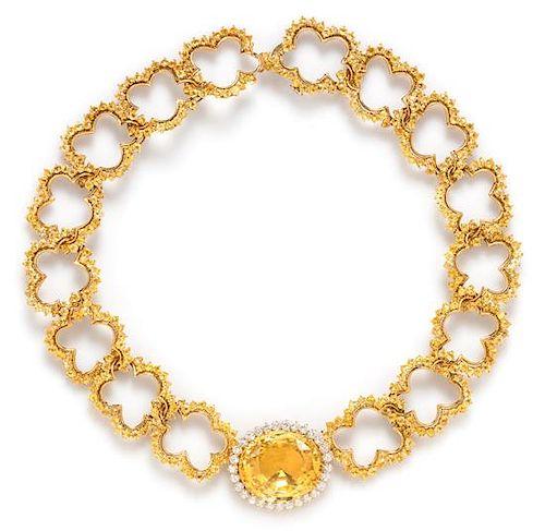 An 18 Karat Yellow Gold, Yellow Sapphire and Diamond Necklace, Angela Cummings, Circa 1984, 75.50 dwts.