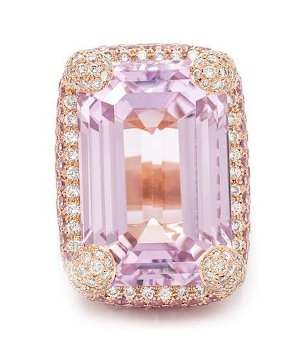 An 18 Karat Rose Gold, Kunzite, Pink Sapphire and Diamond Ring, Michele della Valle, 25.60 dwts.