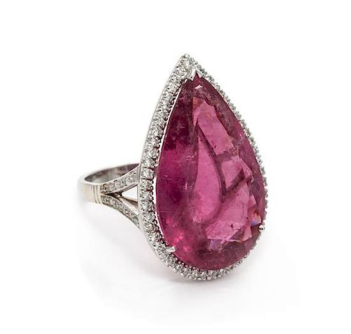 An 18 Karat White Gold, Pink Tourmaline and Diamond Ring, British, 6.90 dwts.