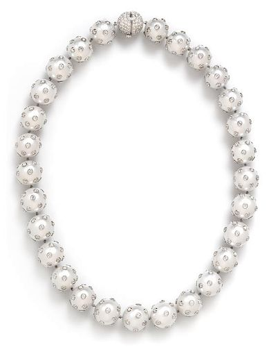A White Gold, Cultured South Sea Pearl and Diamond Necklace, 107.85 dwts.