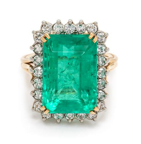 A Bicolor Gold, Emerald and Diamond Ring, 7.10 dwts.
