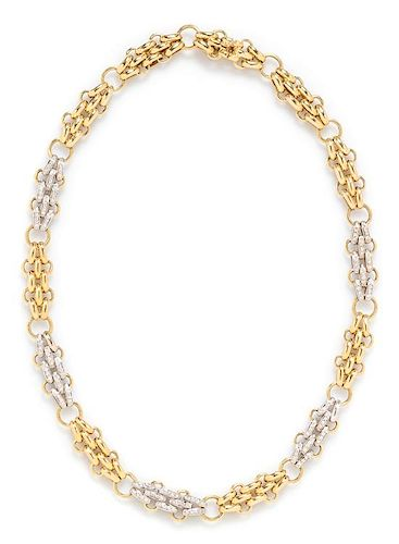 An 18 Karat Bicolor Gold and Diamond Necklace, Tiffany & Co., Italy, 45.85 dwts.