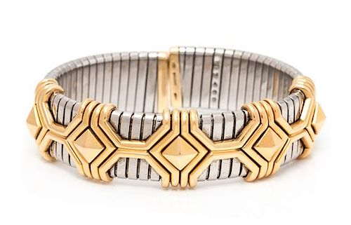 A Stainless Steel and 18 Karat Yellow Gold Tubogas Cuff Bracelet, Bvlgari, 51.90 dwts.