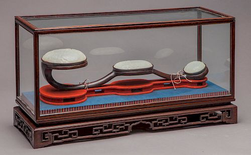 Chinese Qing carved jade inlaid Ruyi scepter