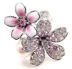 Mikimoto Sakura 18k White Gold Diamond Sapphire Pearl Flower Ring