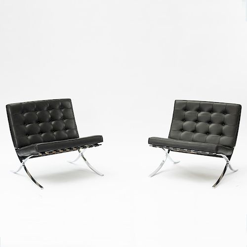 L. Mies van der Rohe, 2 'Barcelona' chairs with 1 ottoman