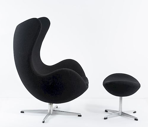 Arne Jacobsen, 'Egg chair' with ottoman, 1957