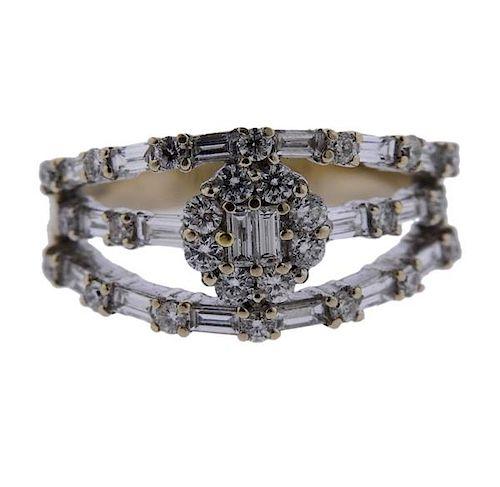 18K Gold Diamond Three Row Band Ring