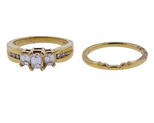 18K Gold Diamond Engagement Wedding Ring Set