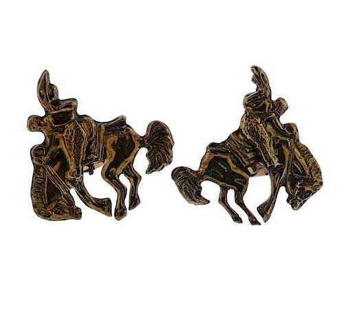 14k Gold Sterling Silver Equestrian Horse Cufflinks