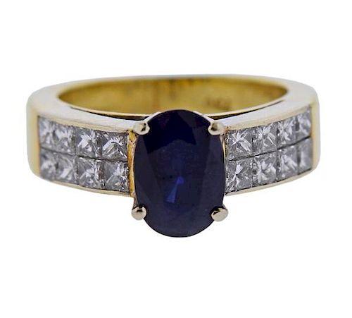18K Gold Diamond 2.5Ct Sapphire Ring