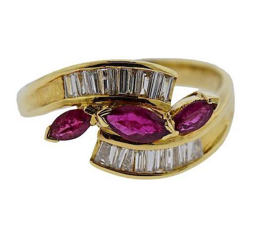 18K Gold Diamond Ruby Bypass Ring