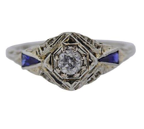 Filigree 18K Gold Diamond Blue Stone Ring