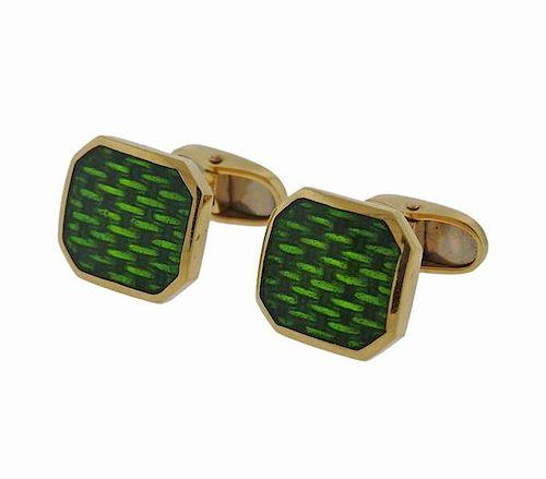 18k Gold Green Enamel Cufflinks