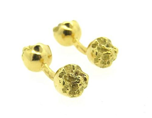1970s Pierre Cardin 18k Gold Free Form Cufflinks