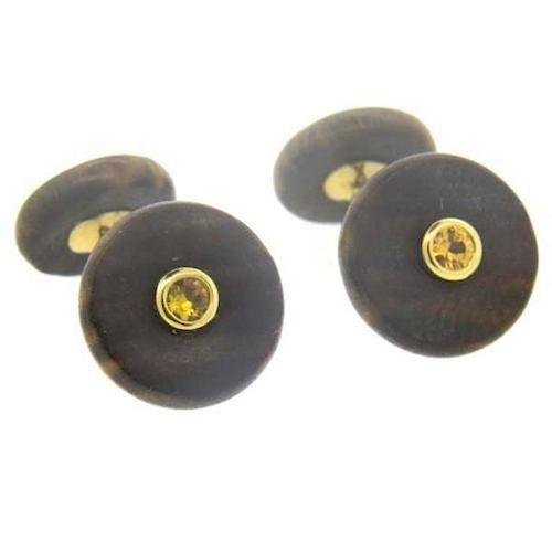 Trianon Wood Citrine 18k Gold Cufflinks