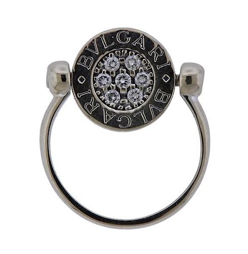 18K Gold Diamond Onyx Flip Ring
