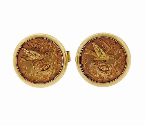 Antique Victorian 14K Gold Bird's Nest Cufflinks