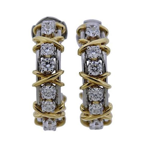 Tiffany & Co Schlumberger Platinum Twenty Stone Diamond Hoop Earrings