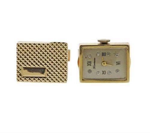 Mid Century 14k Gold Diamond Box Watch Cufflinks