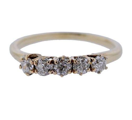 14k Gold Old Mine Cut Diamond 5 Stone Ring