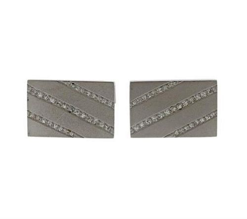 Mid Century Diamond 18k Gold Cufflinks