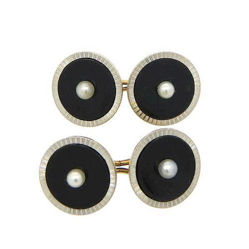 Art Deco Onyx Pearl 14k Gold Platinum Cufflinks